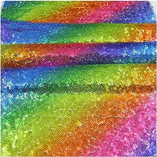 YAXAMING 彩虹亮片桌巾长方形餐垫桌布婚礼夏威夷夏季假期婴儿淋浴圣诞节万圣节生日派对用品闪光亮片桌布装饰 12x71 inches S06-TABLE-RAINBOW23-180CM65