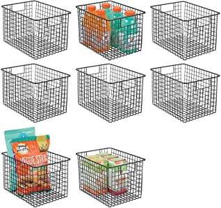 mDesign 金属线食品收纳收纳盒收纳篮,XL 深 黑色 8片装 06189MDK