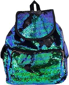 Aisa 女士时尚亮片运动背包蓝色绿色闪光休闲旅行单肩包女孩书包