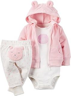 Carter ' s 女婴3件套快乐熊连帽套装 粉色 12 Months