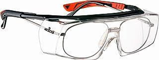 NoCry 玻璃防护眼镜-带有透明的防刮擦环绕式镜片,可调节臂,侧罩,UV400防护,ANSI Z87和OSHA认证(黑色和红色)