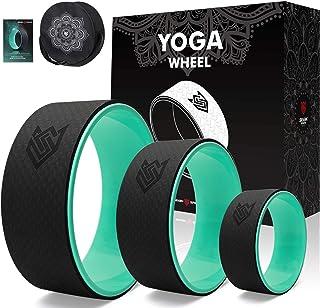 Seven Sparta 瑜伽轮套装带包 3 件装后轮支撑轮,用于拉伸、背部*、后弯和*练习,13 英寸,10.5 英寸,6.5 英寸(黑色和*)