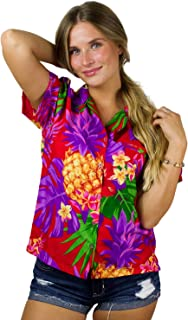 King Kameha 时髦夏威夷衬衫女式短袖前袋夏威夷印花叶子花卉菠萝