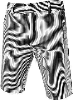 uxcell 男士条纹无褶无褶无褶中腰斜纹棉布散步短裤