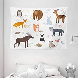 Cabin Decor Tapestry by Ambesonne, Cute Animals in Spring Meadow Childish Woodland Fauna Kids Baby Room Nursery, Wall Hanging for Bedroom Living Room Dorm, 80 W X 60 L Inches, Multicolor