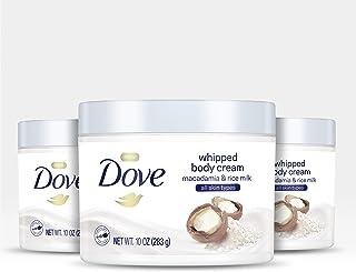 Dove 多芬润肤身体霜干燥皮肤保湿霜金刚玉和米牛奶滋养肌肤,深层 10 盎司,3 支装