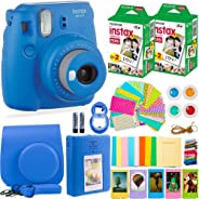FujiFilm Instax 迷你 9 相机配件包 - 相机、即时胶片(40 张),便携包、彩色滤镜、相册、贴纸、自拍镜头 + 更多FUJI DARK BLU WITH 40 FILM 钴蓝色