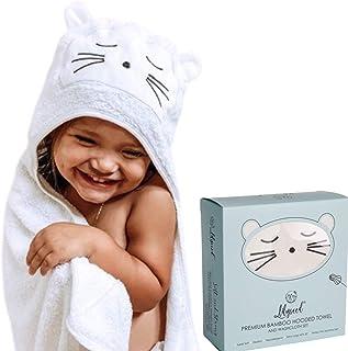 "Lilyseed 高级婴儿连帽浴巾和毛巾套装 | *软竹浴巾带帽,适合男孩或女孩,婴儿,学步儿童送礼佳品 - 低*-XL-白色 - 动物脸 白色 40"" X 30"""