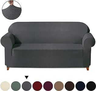 """提花弹力沙发套 - 1 件弹性家具保护套沙发套,涤纶氨纶柔软摇粒绒格子防滑沙发套 灰色 Sofa Extra Large (92""""-118"""")"""