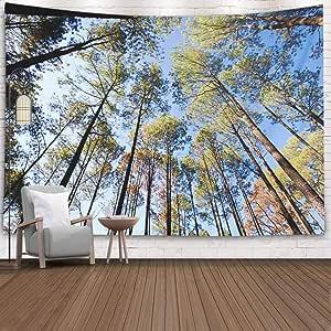 """短款父亲礼品挂毯,152.40 x 127 cm 家庭壁挂挂挂毯艺术装饰客厅宿舍魔法森林湖 Multi 11 80"""" L x 60"""" W"""