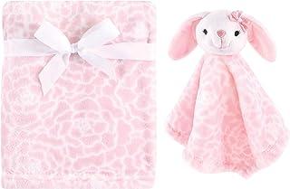 Hudson 男女宝宝通用婴儿毛绒毯,带*毯 Pink Bunny 2 Piece 均码