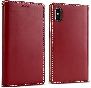 iPhone X 保护套25.4CM ) designskin [ 经典基本 ] [ *** 手工真皮 ] 翻盖钱包独特奢华风格全防护名片夹现金存储插槽袋挂带孔覆盖 *红色