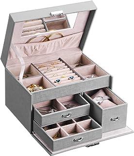 BEWISHOME 20 节首饰盒,女士首饰收纳盒带锁,女孩首饰盒耳环、戒指、项链、袖扣、吊坠 – 灰色仿皮 SSH78H