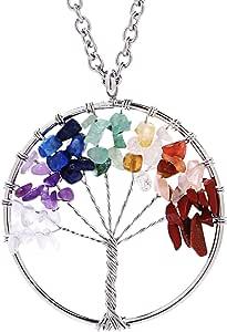 Eamaott 生命树吊坠紫水晶水晶项链 宝石 Chakra 首饰母亲节礼物 Rainbow-a