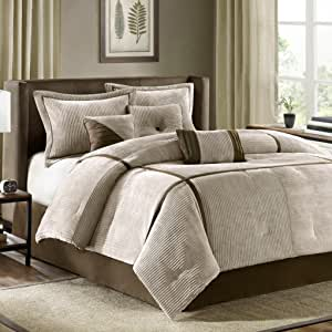 Madison Park Dallas 7 Piece Comforter Set, California King, Tan