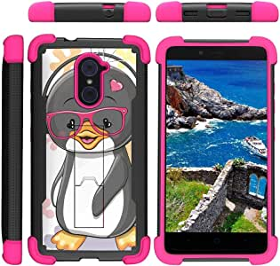 TurtleArmor ® 兼容中兴 Imperial Max 手机壳 - Max Duo Duo Grand X Max 2 [Grip Combat] 坚固耐用抗冲击双层防护支架保护壳粉色设计 - Cute Penguin