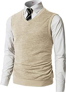H2H 男式休闲修身套头毛衣背心针织 V 领保暖基本设计