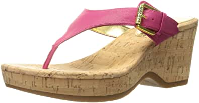 Lauren Ralph Lauren Oralee 女士坡跟凉鞋 Geranium Tumbled Burn Nappa 7.5 M US