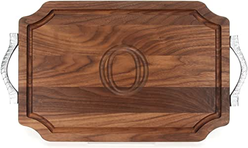 """CHUBBCO W310-RP-O Cutting Board with Rope Handle in Cast Aluminum with Scalloped Corners, 12-Inch by 18-Inch by 1-Inch, Monogrammed """"O"""", Walnut"""