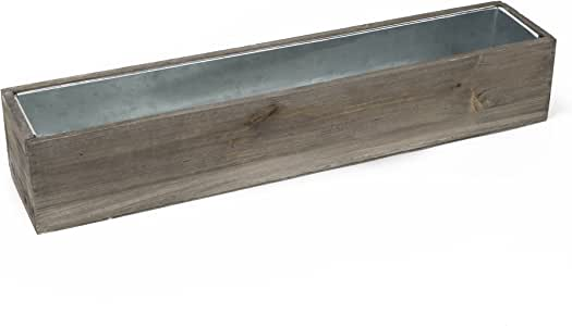 """CYS EXCEL Planter Box, Wood Planter, Wood Rectangle Window Box Wood Planters with Removable Zinc Liner, 6 Sizes Available, (Pack of 1) (H:4"""" Open:28""""x4"""")"""