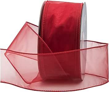 Wired Sheer 丝带用于花卉和工艺装饰,50 码卷(150 英尺线轴)Royal Imports 散装 红色 2-3/4 Inch SHR-40_RED