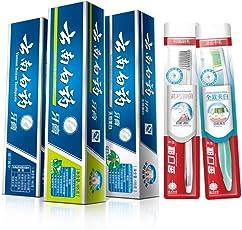 云南白药 人气3+2牙膏套装 (留兰香180g+薄荷清爽185g+冬青香170g+2支牙刷) 牙刷随机发货