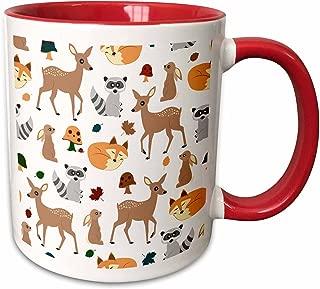 janna salak 设计林地动物手机壳–林地动物图案 FAWN 狐狸浣熊兔子–马克杯 红/白色 11-oz Two-Tone Red Mug