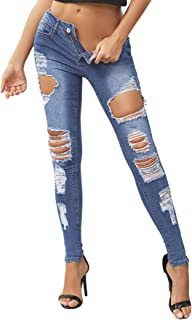 SweatyRocks 女式高腰弹力破洞紧身牛仔裤做旧牛仔裤
