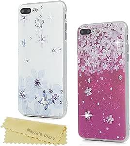 iPhone 7 手机壳,iPhone 8 手机壳,Mavis 的日记 3D 可爱绘花图案超薄水晶硅胶 TPU 防震防刮橡胶手机壳带防尘塞和触控笔 蝴蝶