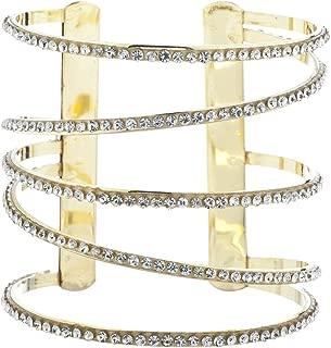 Lux Accessories 金色镶钻水钻镂空螺旋开口袖口手镯