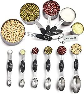 不锈钢测量勺和量杯套装11,6 个可堆叠磁性测量勺和 5 个嵌套测量杯,测量干性和液体成分。 银色 Measuring Cups & Spoons Set GA-CF001