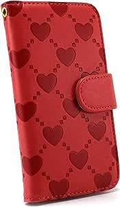 ホワイトナッツ ハートエンボス ケース 手帳型 红色 10_ Disney Mobile on SoftBank DM015K