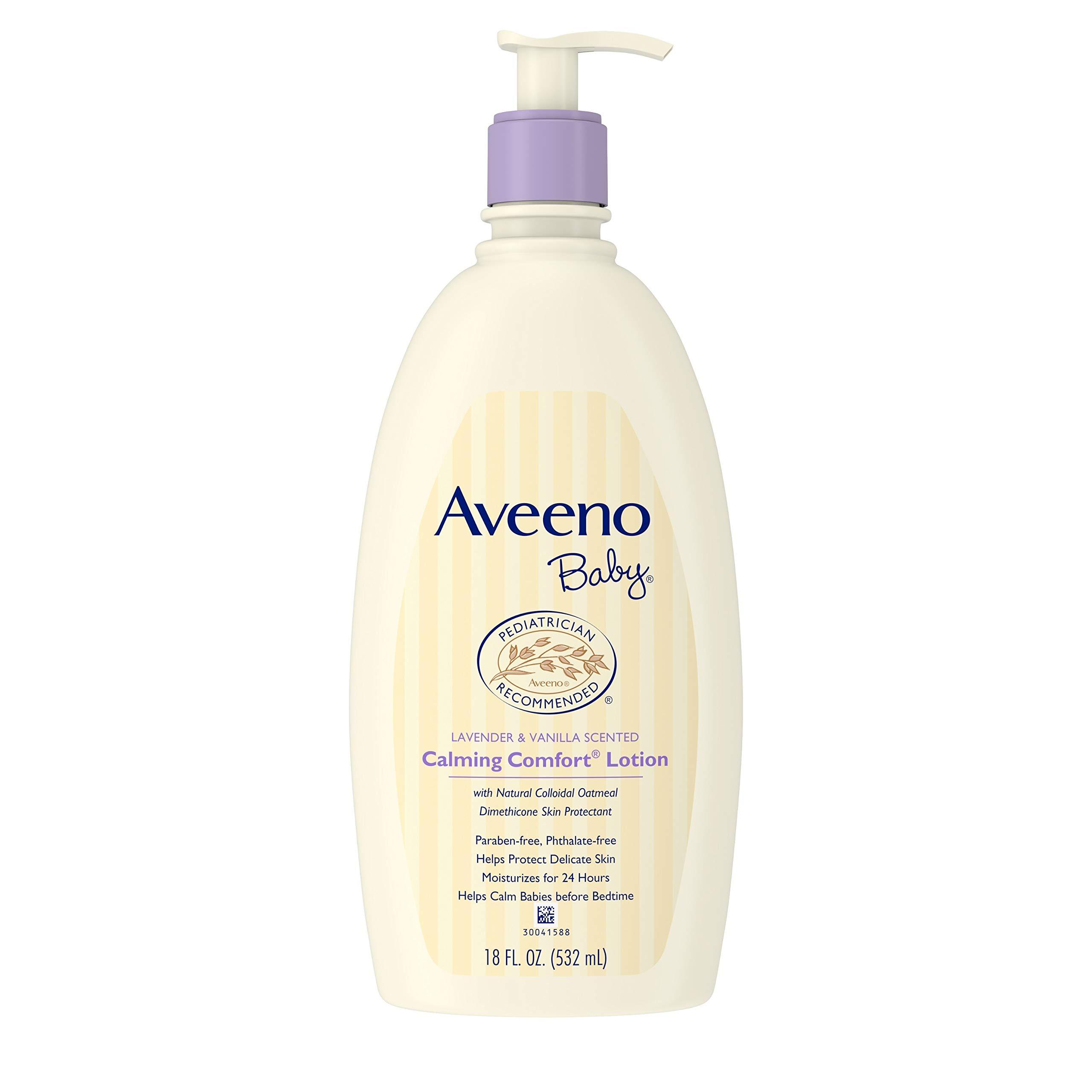 Aveeno艾惟诺 婴儿舒缓保湿乳液,含有薰衣草,香草和天然燕麦片,18液体盎司/532毫升