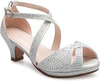 OLIVIA K 女童可爱可爱系带闪光露趾高跟凉鞋 - 可调节搭扣