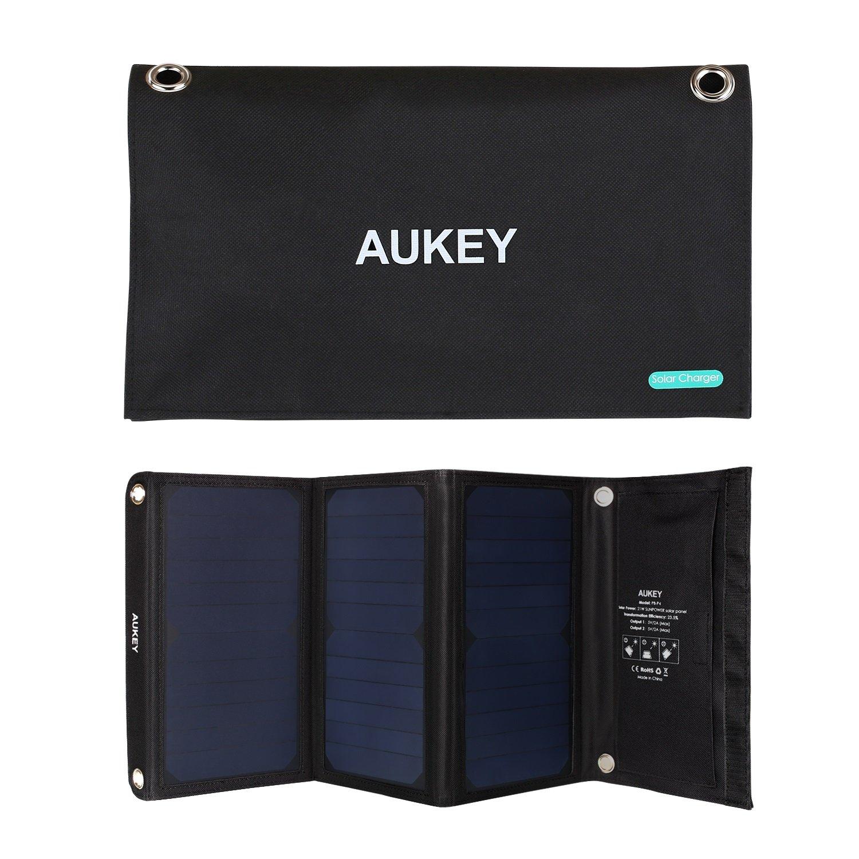 AUKEY PB - P4 – 太阳能面板 - 充电器带2个 USB 端口 ( 21 W )