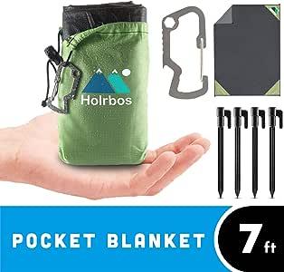 便携式口袋毯 — * 防水 + 防沙垫,适合野餐、海滩、露营、休旅车、远足、赠水瓶架、登山扣 + 桩套件 - 大号 208.28cm x 142.24cm 长,蓝色,红色,绿色 0600142320020