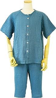 内野(UCHINO)男士 睡衣 绉纱 短袖 细支纱 3层纱布 蓝色 LA RPS14398 B
