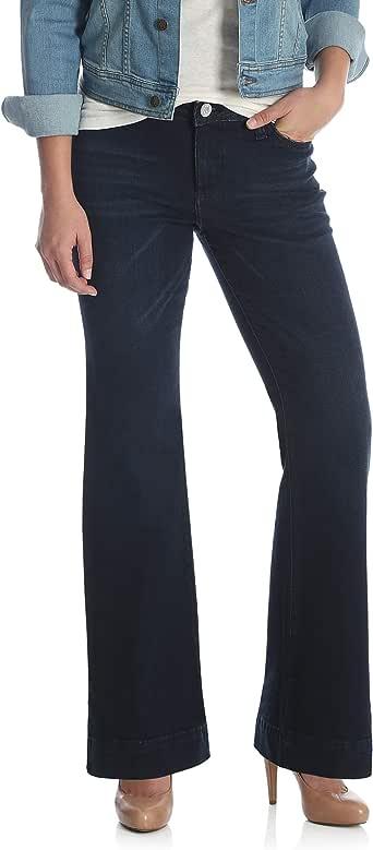 Wrangler 女式复古 Mae 中腰弹力阔腿牛仔裤  深蓝色 7X36