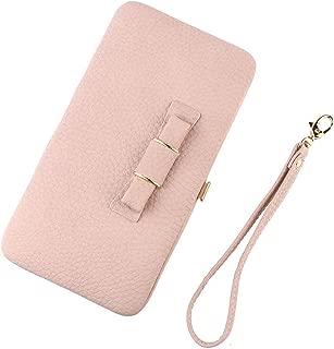 TraderPlus 女士皮革手机手包钱包信用卡钱包蝴蝶结手包