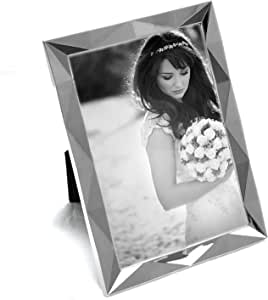 """Maxxi Designs Photo Frame with Easel Back, 4 x 6"""", Textured Silver Plated Encore"""