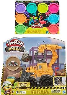 Play Doh Wheels 前装载机玩具卡车 + Play Doh 8 件装霓虹灯化合物