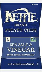 Kettle Brand Potato Chips, Sea Salt and Vinegar, 5 Ounce (Pack of 15)