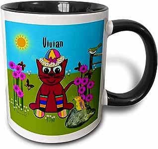 3drose smudgeart 女儿童名字设计–Vivian–装饰 smudgeart 艺术设计–彩虹猫短袜–马克杯 黑色/白色 11-oz Two-Tone Black Mug