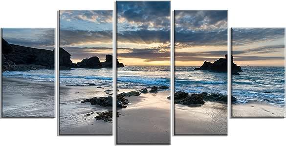 """设计艺术 PT14736-32-16 美丽的波特南湾 - 现代海岸帆布墙壁艺术印刷品 60x32"""" - 5 Panels Diamond Shape PT14736-60-32-5PD"""