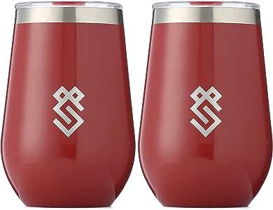 Summit Outdoor *杯,真空隔热*杯带盖,无*杯设计,不锈钢,不易破碎,不易碎,便携,2件套,家居,旅行或露营。 新款滑盖 Gloss Burgundy 12oz