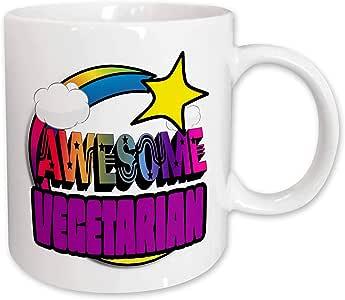 3dRose mug_201443_1 Shooting Star Rainbow Awesome Vegetarian Ceramic Mug, 11-Ounce