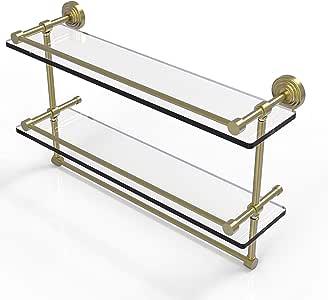 Allied Brass 画廊双层玻璃架带毛巾杆 绸缎黄铜 22 in. WP-2TB/22-GAL-SBR