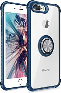 DICHEER iPhone 7 Plus 8 Plus 手机壳,15 英尺跌落测试重型防震手机壳带环支架,双层防震手机壳,适用于 Apple iPhone 7 Plus 8 Plus Plus 5.5 英寸iPhone 7 Plus/8 Plus 5.5 Inch Armor Blue
