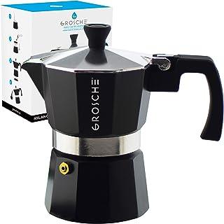 GROSCHE Milano Moka 锅,炉面浓缩咖啡机,格丽佳咖啡机,炉面咖啡机和意式浓缩咖啡机渗滤器 黑色 1 Cup GR 411