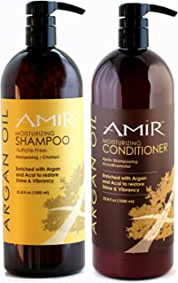 Amir Argan Oil Sulfate Free Shampoo & Argan Oil Conditioner Liter Duo (33.8 oz ea) with FREE Pumps! Best Price! Great Value!